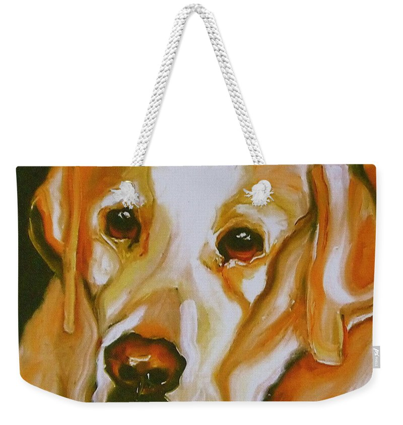 Oil Weekender Tote Bag featuring the painting Yellow Lab Amazing Grace by Susan A Becker