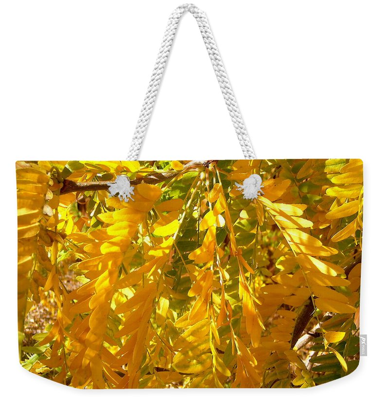 Leaves Weekender Tote Bag featuring the photograph Yellow Leaves by Stephanie Moore