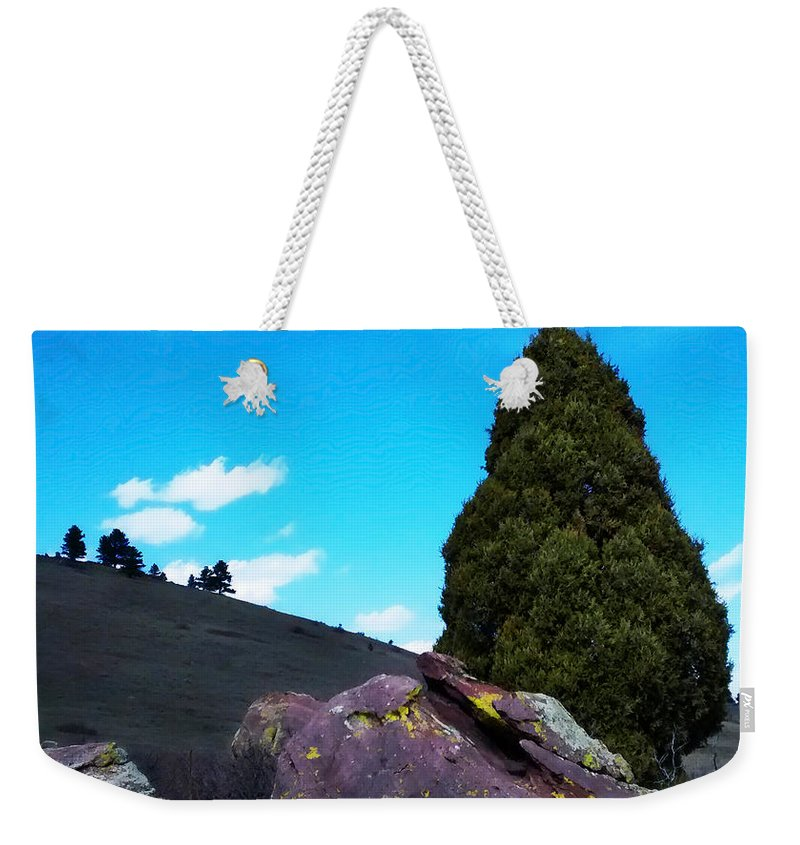 Yellow Weekender Tote Bag featuring the photograph Yellow Lichen by Marilyn Hunt