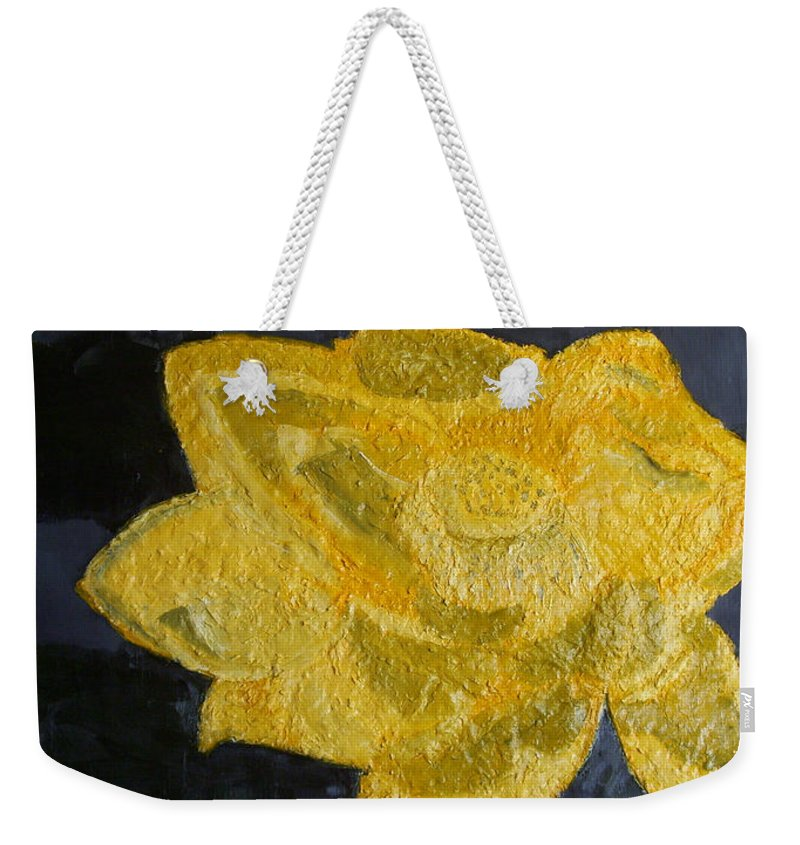 Still Life Paintings Weekender Tote Bag featuring the painting Yellow Lilac On The Pond by Leslye Miller