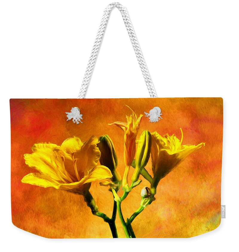 Lilies Weekender Tote Bag featuring the photograph Yellow Lilies by Ericamaxine Price