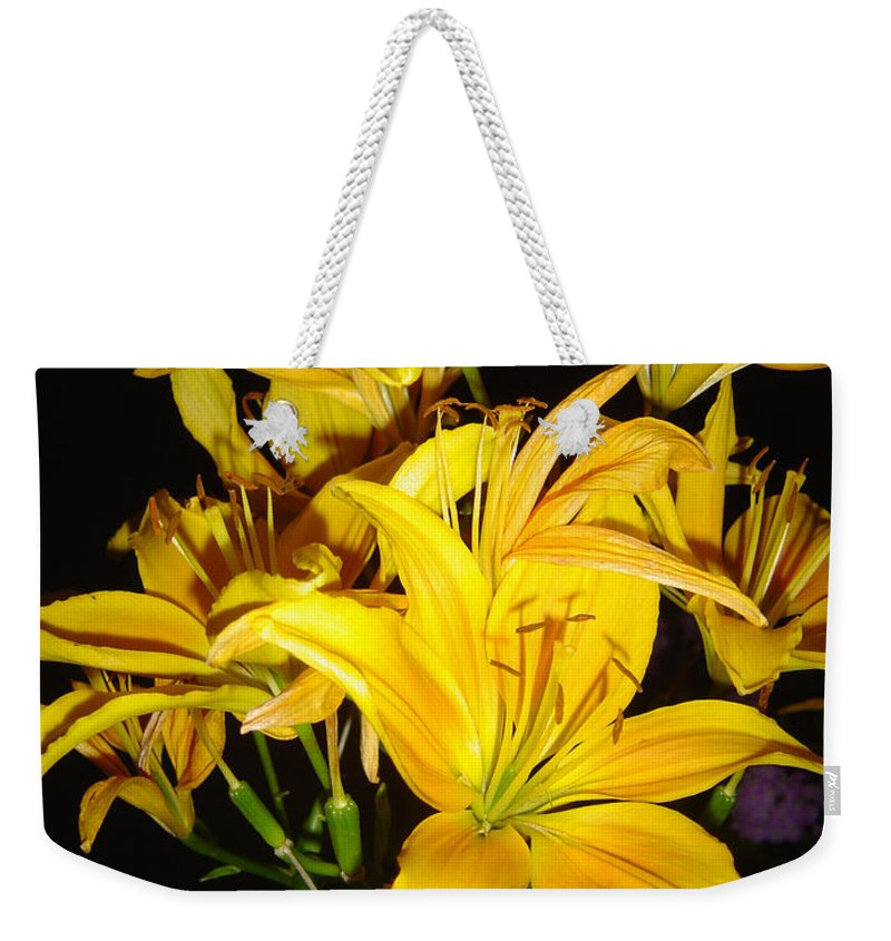 Yellow Lilies Bouquet Weekender Tote Bag featuring the photograph Yellow Lilies by Joanne Smoley