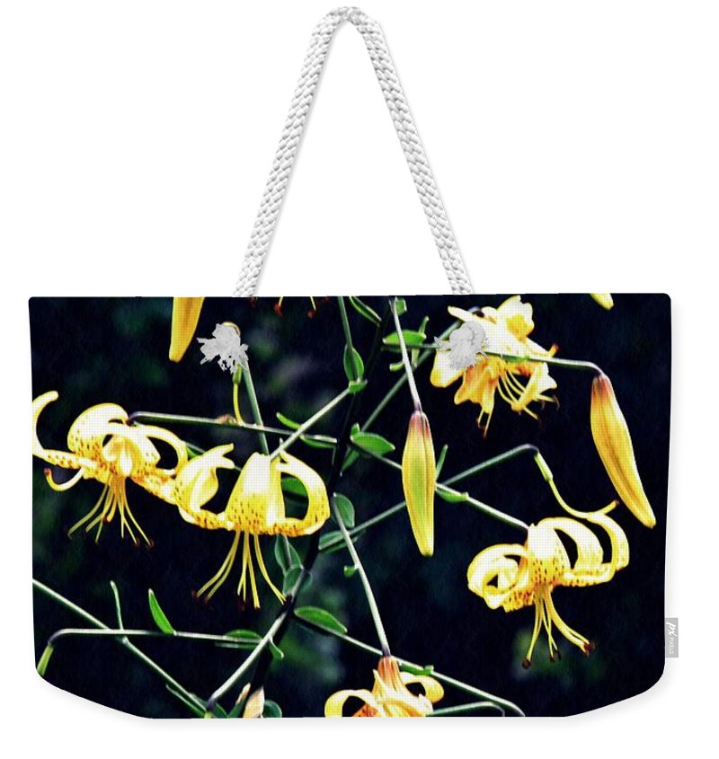 Lily Weekender Tote Bag featuring the photograph Yellow Lilies In Fort Tryon Park by Sarah Loft