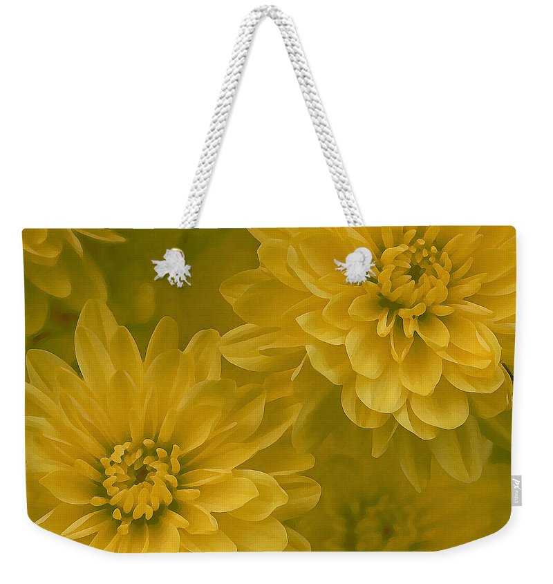 Yellow Mum Art Weekender Tote Bag featuring the photograph Yellow Mums by Linda Sannuti