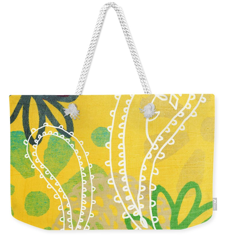 Paisley Weekender Tote Bag featuring the painting Yellow Paisley Garden by Linda Woods