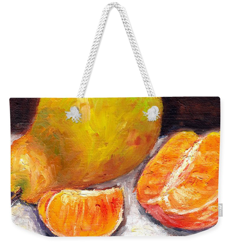 Still Life Weekender Tote Bag featuring the painting Yellow Pear With Tangerine Slices Grace Venditti Montreal Art by Grace Venditti