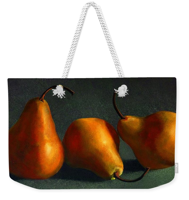 Still Life Weekender Tote Bag featuring the painting Yellow Pears by Frank Wilson