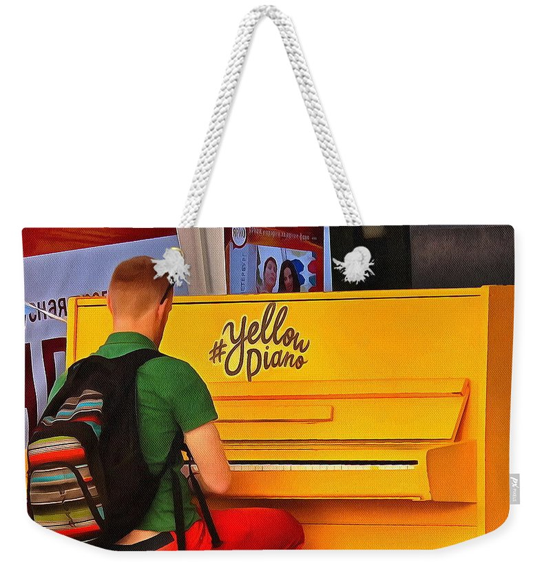 City Weekender Tote Bag featuring the pyrography Yellow Piano by Yury Bashkin