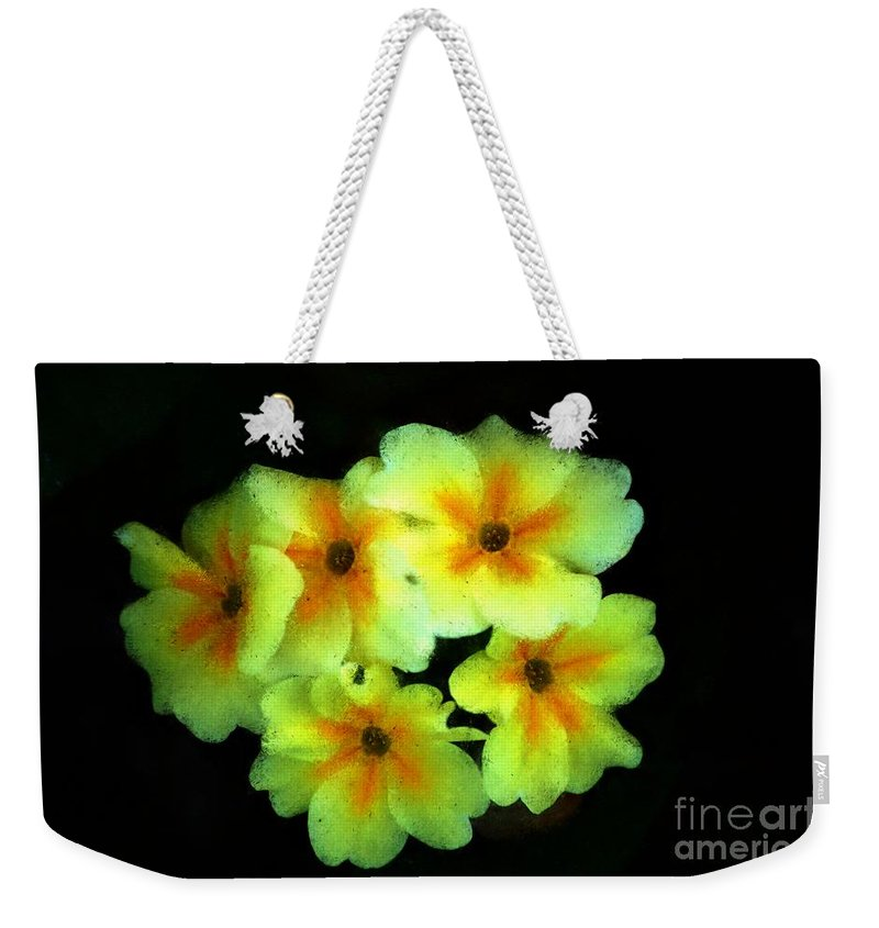 Digital Photo Weekender Tote Bag featuring the photograph Yellow Primrose 5-25-09 by David Lane