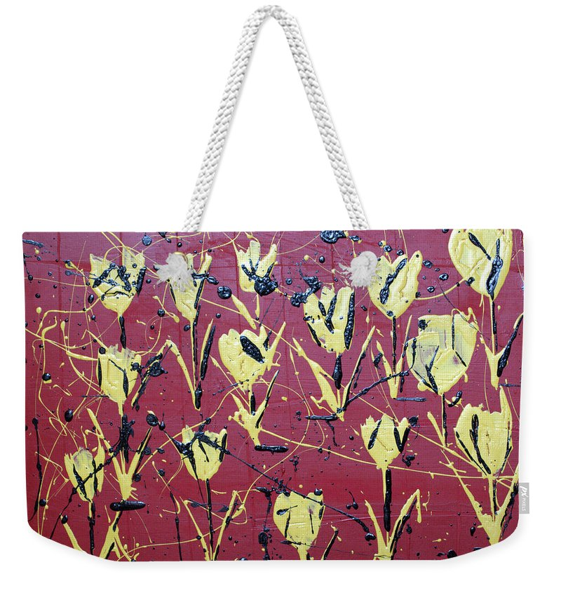Abstract Weekender Tote Bag featuring the painting Yellow Red by J R Seymour