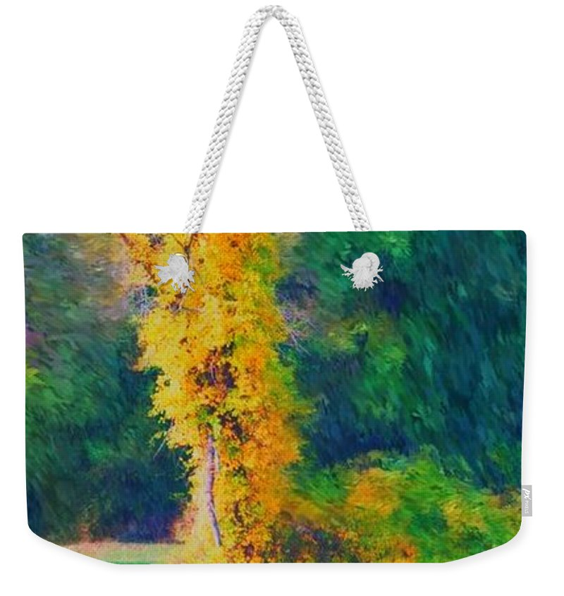 Digital Landscape Weekender Tote Bag featuring the digital art Yellow Reflections by David Lane