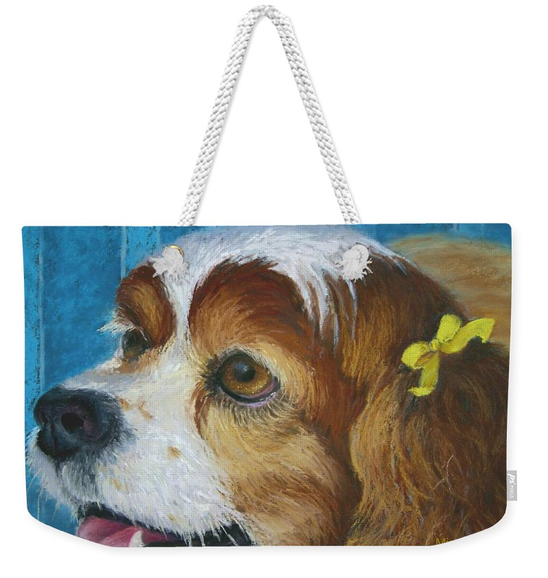 Spaniel Weekender Tote Bag featuring the painting Yellow Ribbons Close-up by Minaz Jantz
