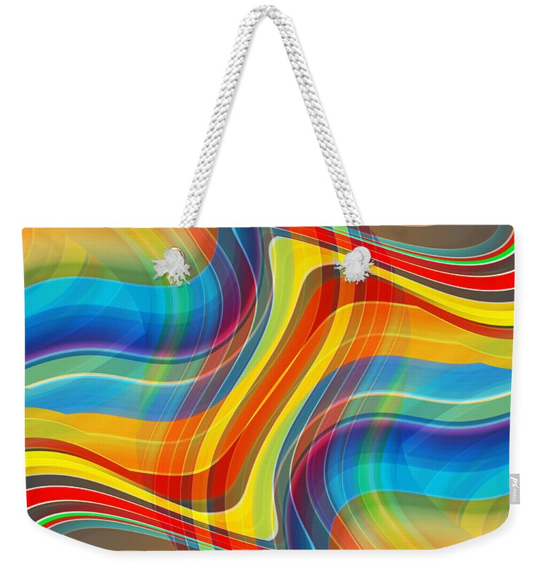 Abstract Weekender Tote Bag featuring the digital art Yellow Road by Ruth Palmer