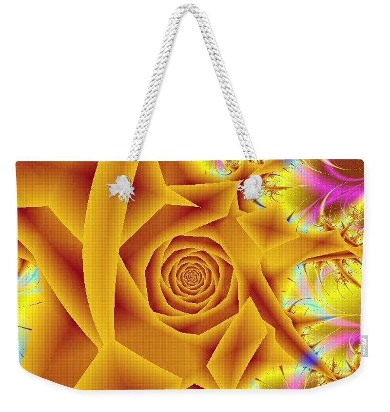 Digital Art Weekender Tote Bag featuring the digital art Yellow Rose by Dragica Micki Fortuna