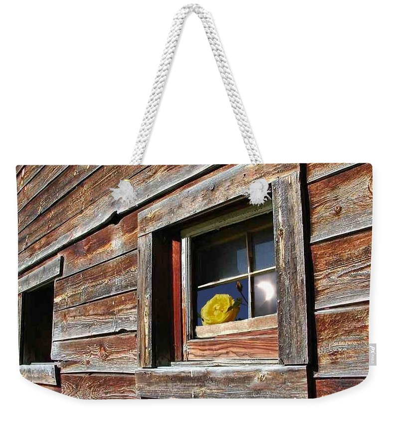 Barn Weekender Tote Bag featuring the digital art Yellow Rose Eclipse by Tim Allen