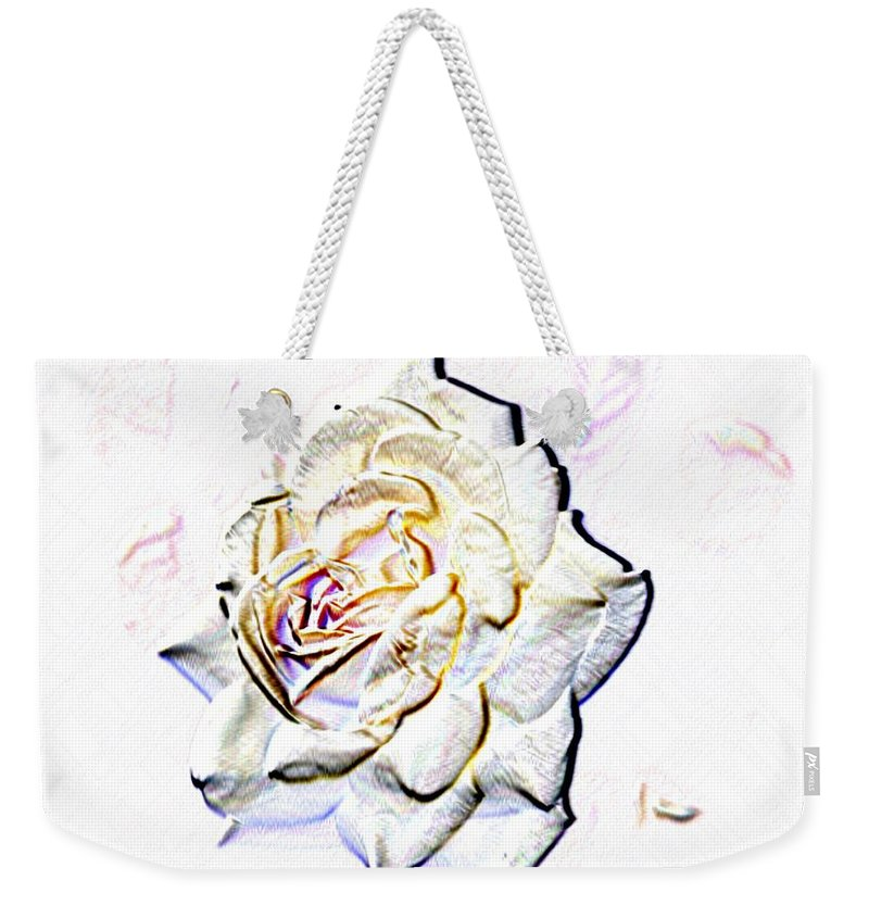 Rose Weekender Tote Bag featuring the digital art Yellow Rose by Tim Allen