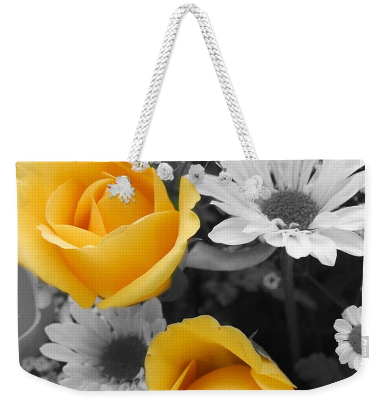 Rose Weekender Tote Bag featuring the photograph Yellow Roses by Amy Fose
