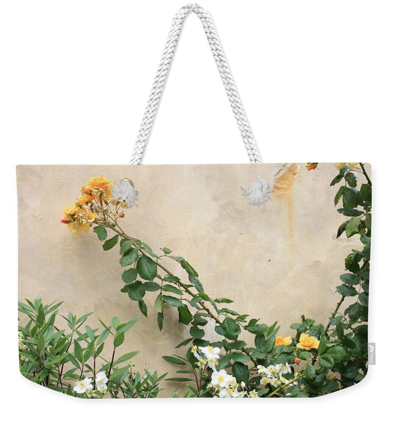 Yellow Roses Weekender Tote Bag featuring the photograph Yellow Roses And Tiny Window At Carmel Mission by Carol Groenen