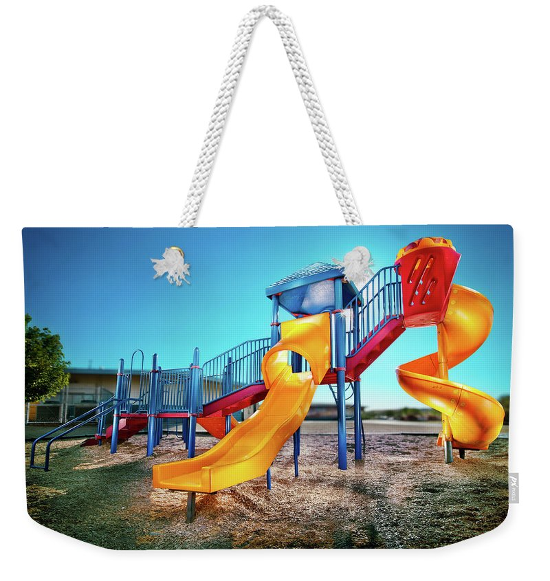 Paint Weekender Tote Bag featuring the photograph Yellow Slide by Yo Pedro