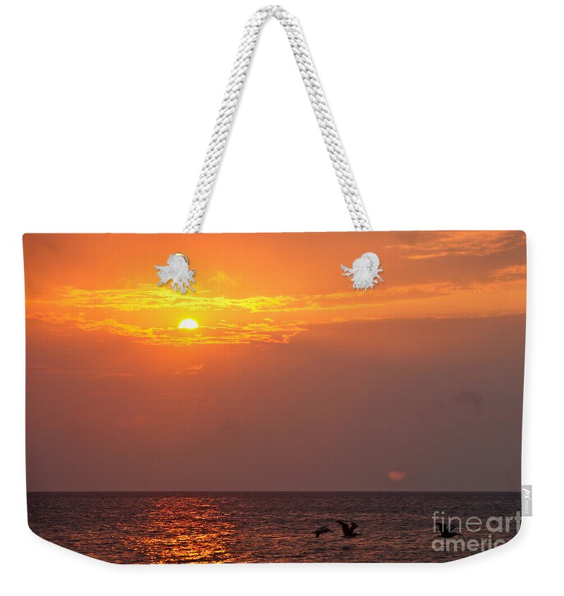 Birds Weekender Tote Bag featuring the photograph Yellow Sunrise And Three Birds by Nadine Rippelmeyer