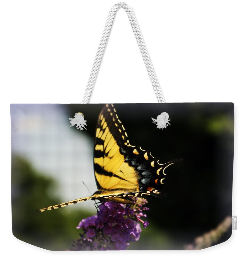 Butterfly Weekender Tote Bag featuring the photograph Yellow Touch by Scott Wyatt
