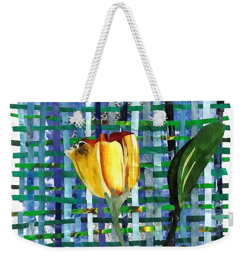 Tulip Weekender Tote Bag featuring the mixed media Yellow Tulip In A Pink Vase by Sarah Loft