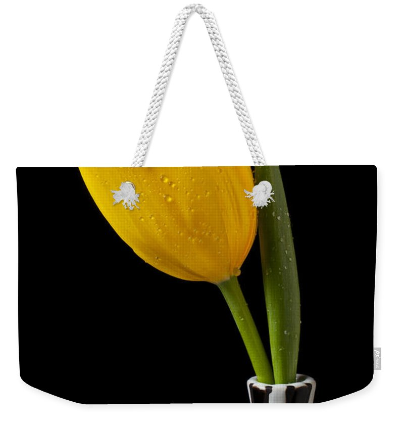 Yellow Weekender Tote Bag featuring the photograph Yellow Tulip In Striped Vase by Garry Gay
