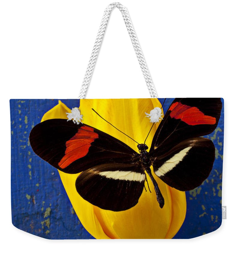 Yellow Weekender Tote Bag featuring the photograph Yellow Tulip With Orange And Black Butterfly by Garry Gay