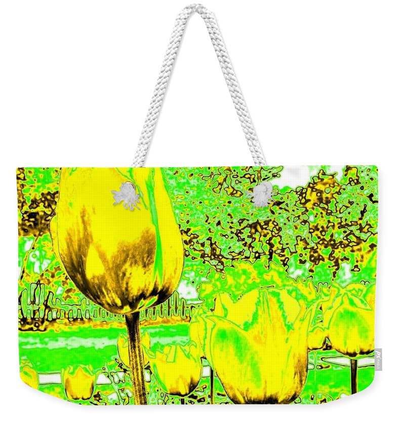 Abstract Weekender Tote Bag featuring the digital art Yellow Tulips Abstract by Will Borden
