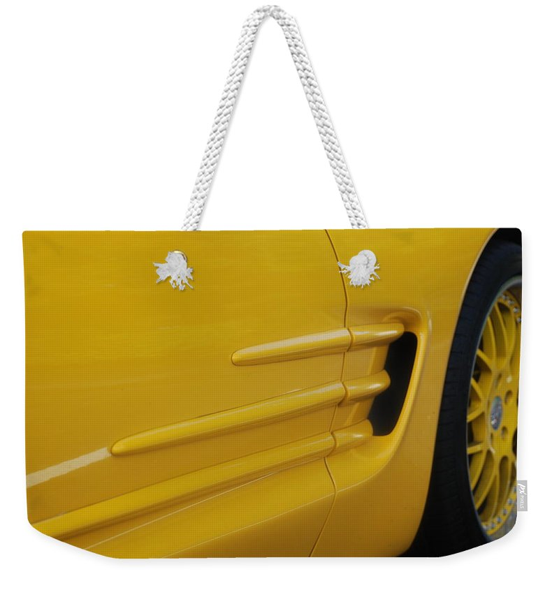 Corvette Weekender Tote Bag featuring the photograph Yellow Vette by Rob Hans