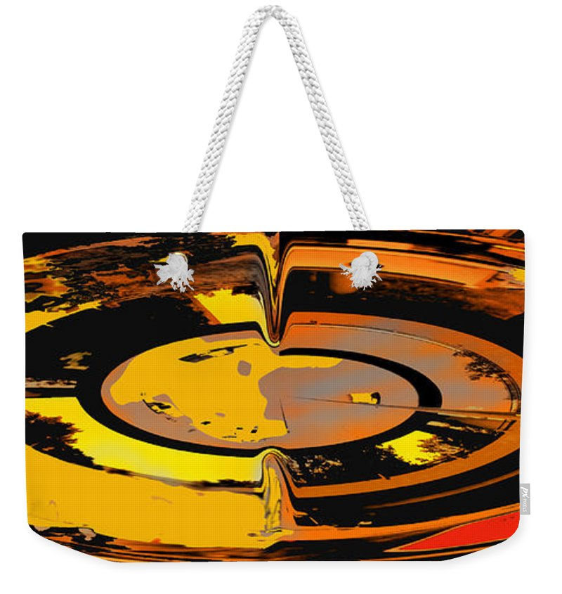 Abstract Weekender Tote Bag featuring the digital art Yellow Vortex by Ian MacDonald