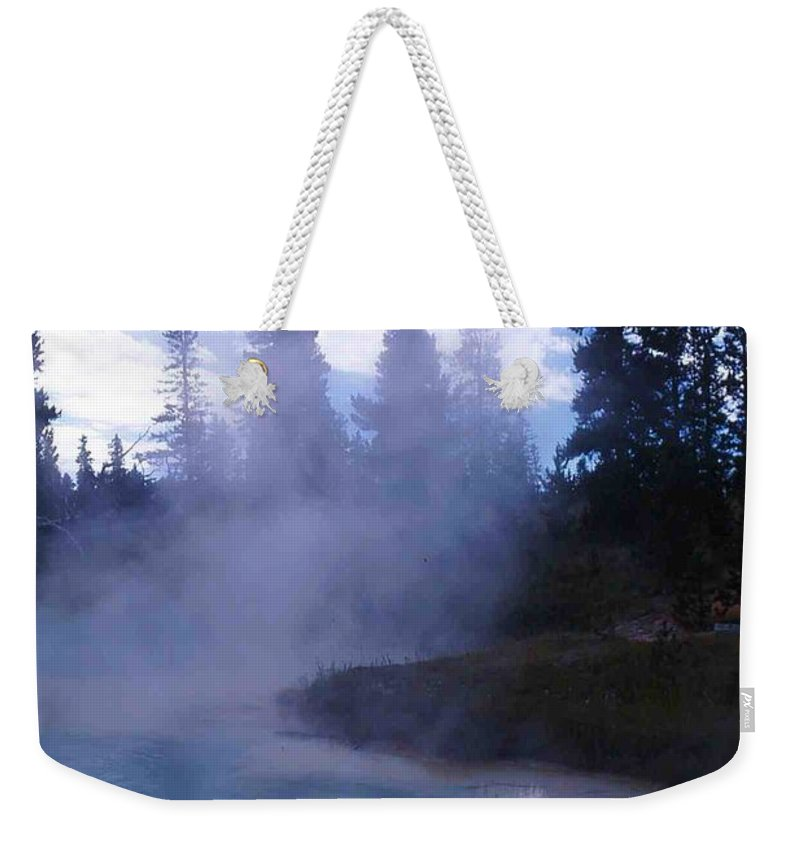 Yellowstone Weekender Tote Bag featuring the photograph Yellowstone Haze by Nelson Strong