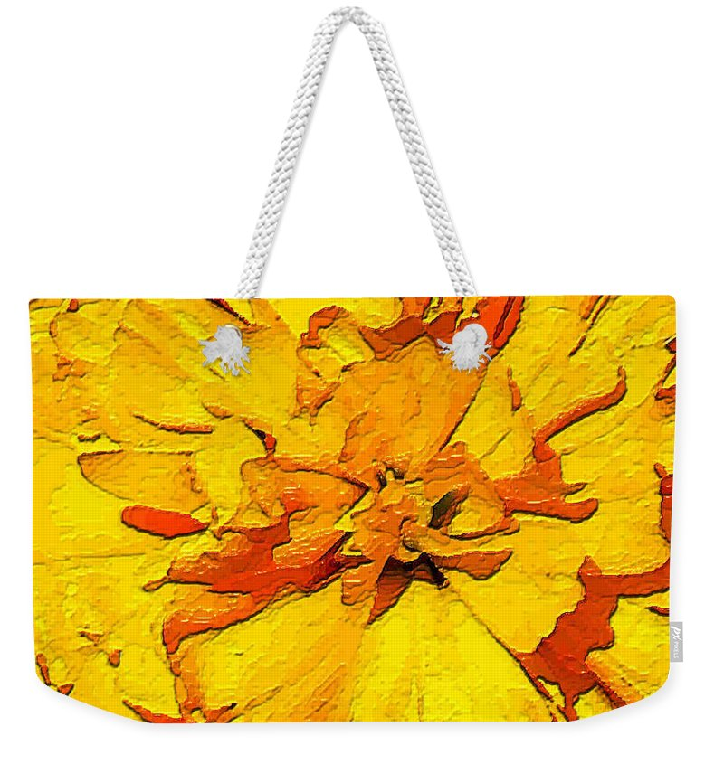 Tulip Weekender Tote Bag featuring the painting Yelow Tulip by Dragica Micki Fortuna