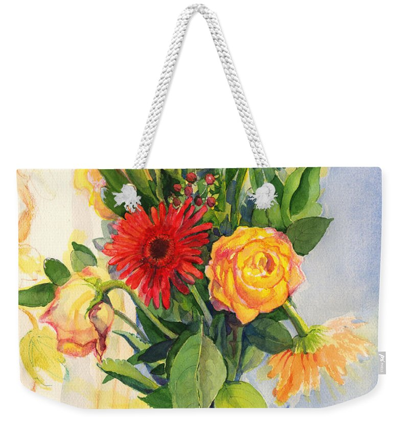 Watercolor Flowers Weekender Tote Bag featuring the painting Yesterdays Beauties by Nancy Watson