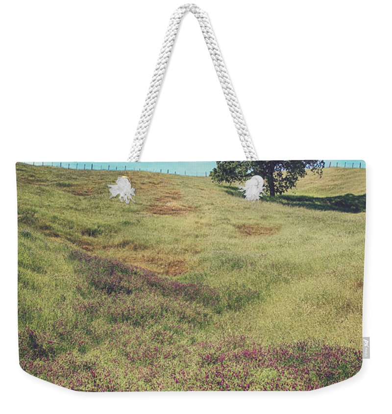 Morgan Hill Weekender Tote Bag featuring the photograph Yet I Feel His Arms Around Me by Laurie Search