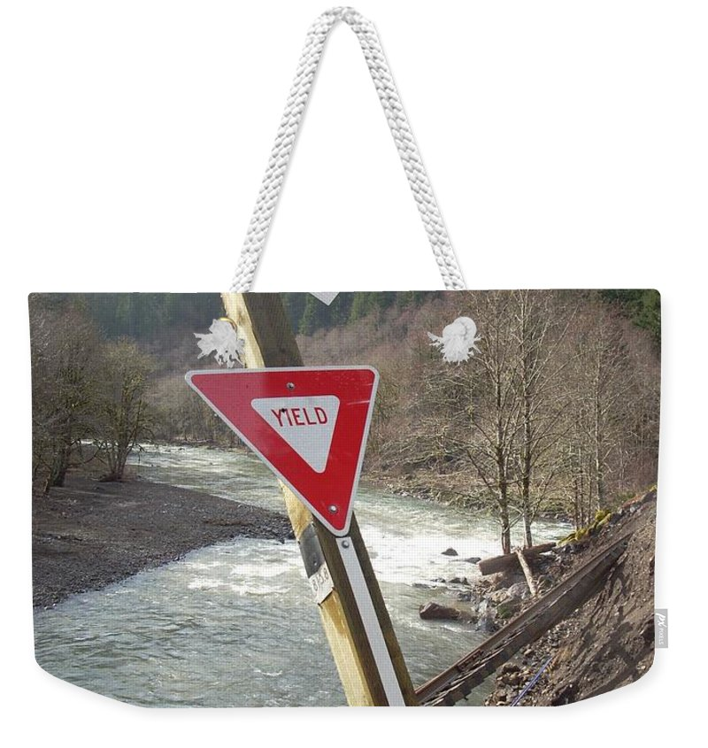 Railroad Crossing Weekender Tote Bag featuring the photograph Yield by Sara Stevenson