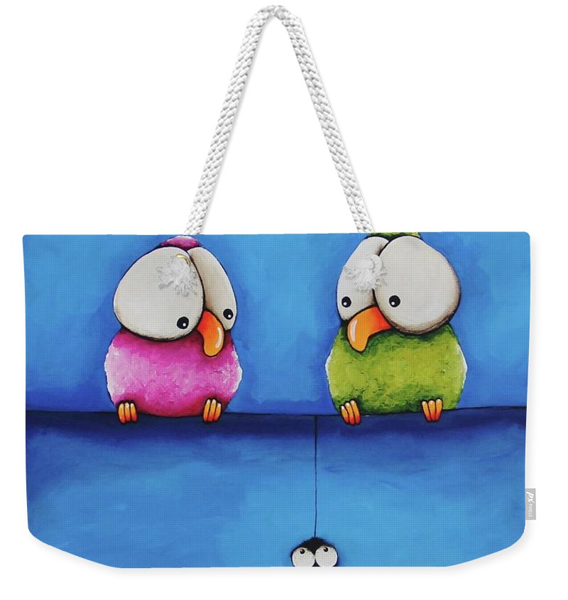Bird Weekender Tote Bag featuring the painting Yikes A Spider by Lucia Stewart