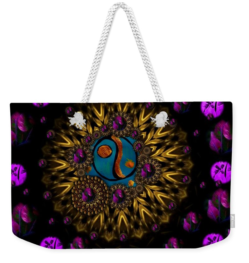 Acryl Weekender Tote Bag featuring the mixed media Yin And Yang Collage by Pepita Selles