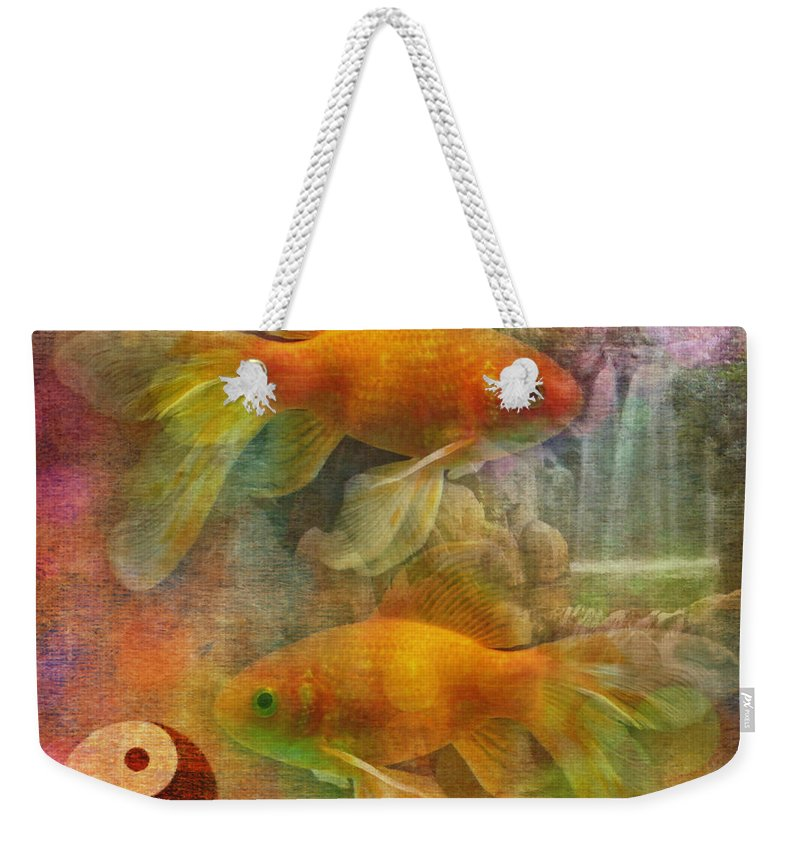 Asian Weekender Tote Bag featuring the digital art Yin Yang 2015 by Kathryn Strick
