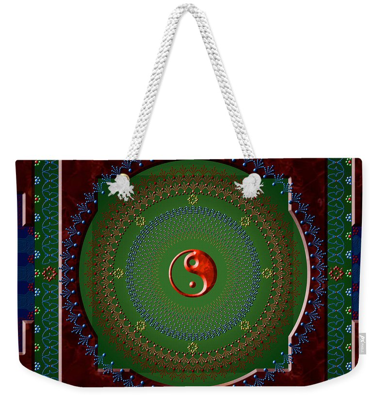 Mandala Weekender Tote Bag featuring the digital art Yin Yang by Stephen Lucas