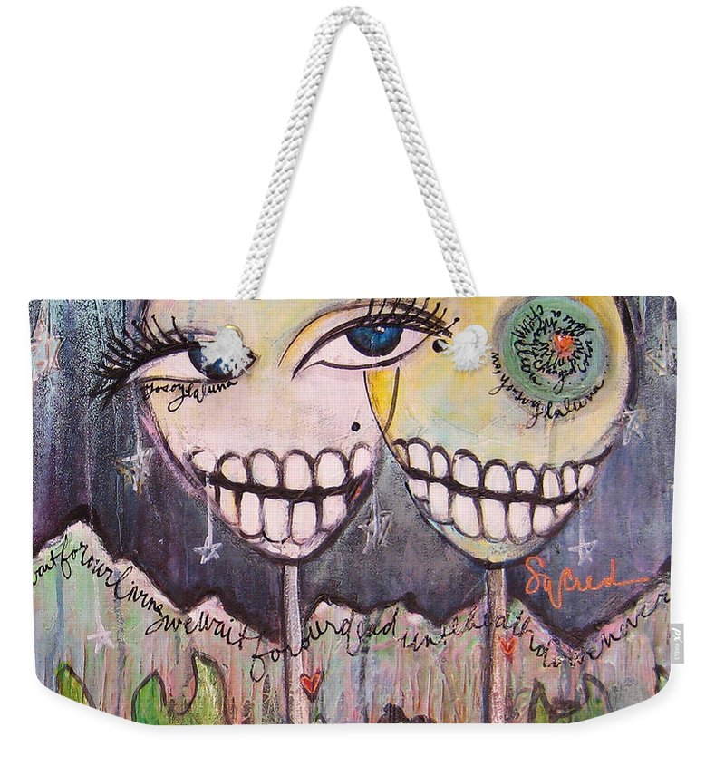 Skull Heads Weekender Tote Bag featuring the painting Yo Soy La Luna by Laurie Maves ART