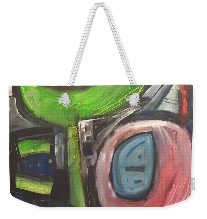 Abstract Weekender Tote Bag featuring the painting YO by Tim Nyberg