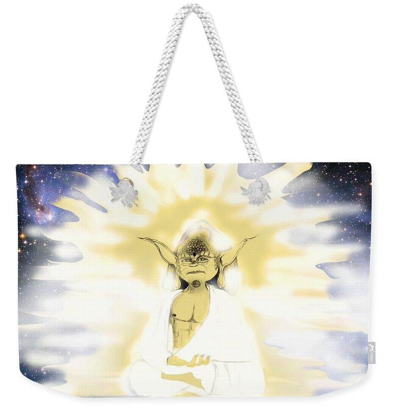 Weekender Tote Bag featuring the digital art Yoda Budda by Subbora Jackson