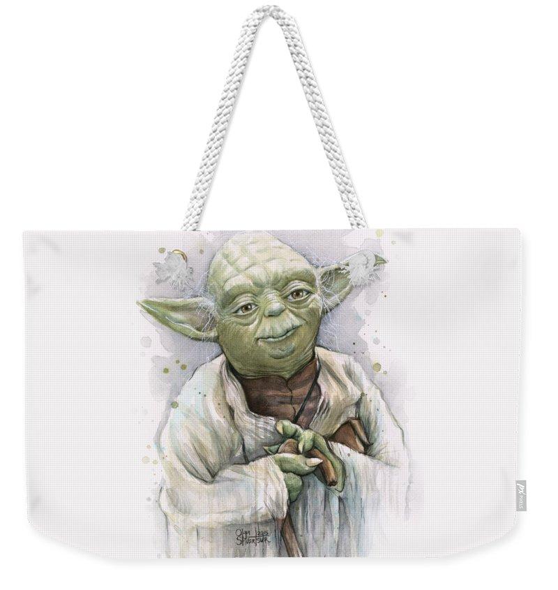 Yoda Weekender Tote Bag featuring the painting Yoda by Olga Shvartsur