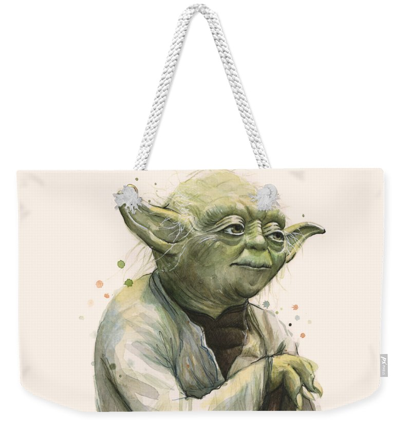 Yoda Weekender Tote Bag featuring the painting Yoda Portrait by Olga Shvartsur