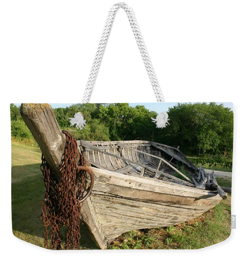 York Boat Weekender Tote Bag featuring the photograph York Boat - Fort Garry by Nelson Strong