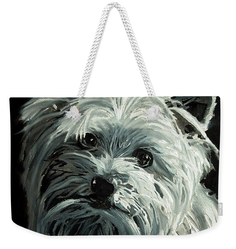 Animals Weekender Tote Bag featuring the painting Yorkie by Portraits By NC