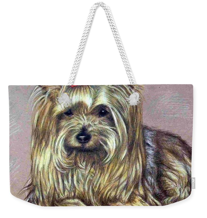 Dog Weekender Tote Bag featuring the drawing Yorkshire Terrier by Nicole Zeug
