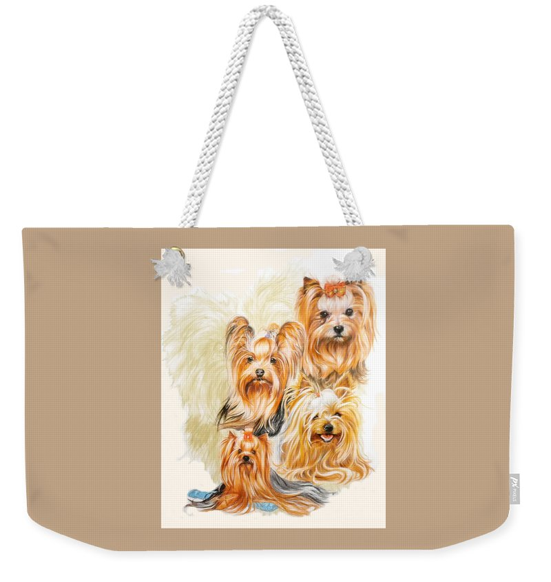 Toy Breed Weekender Tote Bag featuring the mixed media Yorkshire Terrier W/ghost by Barbara Keith
