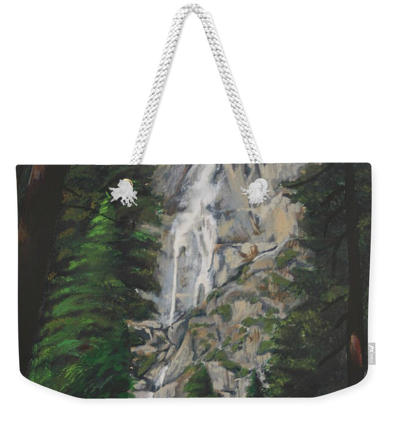 Landscape Weekender Tote Bag featuring the painting Yosemite Falls by Travis Day